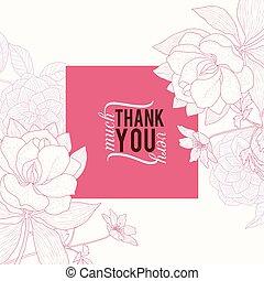 rose, carrée, remercier, classique, vendange, cadre, mariage, vecteur, texte, retro, invitation, floral, élégant, vous, fleurs, dessin, carte, design.