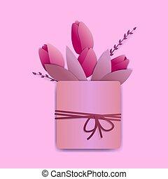 rose, carrée, tulipes, pot, là, minuscule, corde, clair, also., bow., ressorts, feuilles