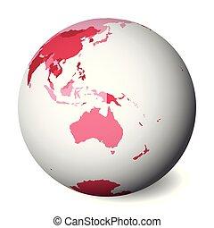 rose, carte, map., globe, politique, illustration, vecteur, vide, la terre, australia., 3d