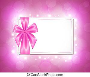 rose, carte, ruban