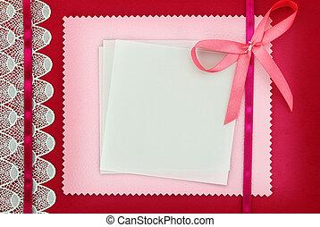 rose, carte, vide, tissu, texture