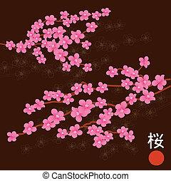 rose, cerise, branches, fleur