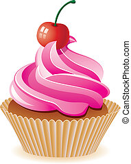 rose, cerise, vecteur, petit gâteau