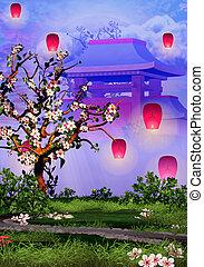 rose, cerisier, lanternes, fleur, temple