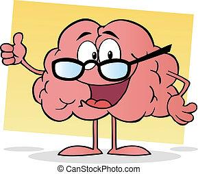 rose, cerveau, portant lunettes