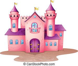 rose, château, coloré