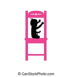 rose, chaise, illustration, enfant