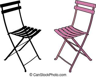 rose, chaise, jardin