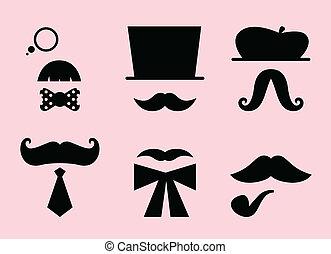 rose, chapeaux, isolé, accessoires, retro, moustaches