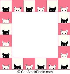 rose, chat, noir, planche, fond, blanc, frontière, échecs