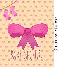 rose, chaussettes, arc, douche, ruban, fond, bébé, cœurs, carte