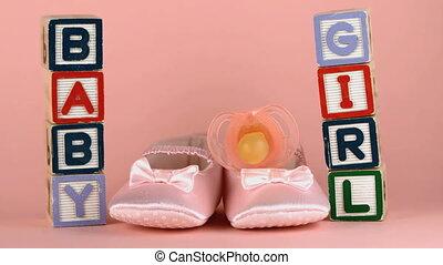 rose, chaussure, soother, bébé, tomber, sur