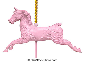 rose, cheval, isolé, carrousel