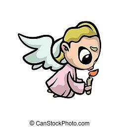rose, cheveux ange, prière, bougie, blond, vêtements