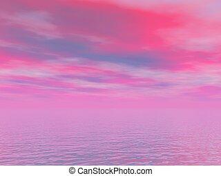rose, ciel bleu, mer