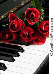 rose, clef piano