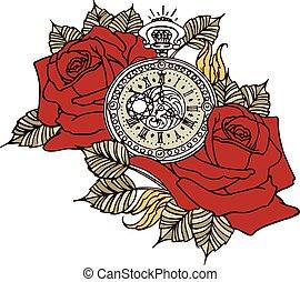 Rose Clock Retro