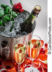 rose, closeup, kalte , champagner, rotes , feier