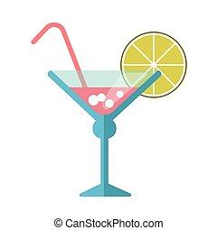 rose, cocktail, paille, verre, martini, chaux
