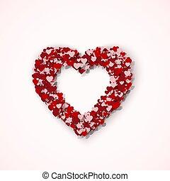 rose, coeur, agréable, amour, cadre, valentines, illustration, day., vecteur, hearts., petit, sentiment, rue., rouges