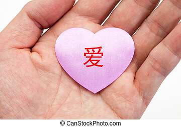 rose, coeur, amour, chinois