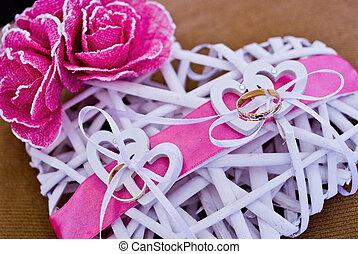 rose, coeur, amour, nouveaux mariés, anneaux, arc, décoré