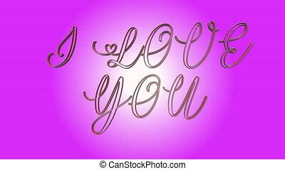 rose, coeur, amour, texte, -, formes, faire boucle, arrière-plan animation, vous, 3d