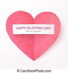 rose, coeur, autocollant, plié, papier, textured