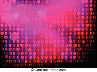 rose, coeur, concept, pourpre, néon, valentines, pattern., disco, arrière-plan., fête, jour