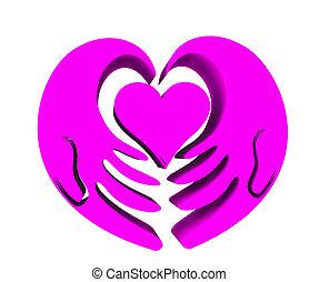 rose, coeur, d, 3, mains, icône