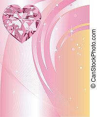 rose, coeur, diamant, fond