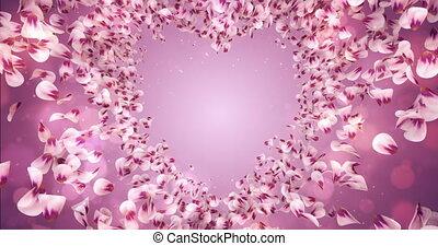 rose, coeur, fleur, pétales rose, forme, sakura, fond, placeholder, boucle, 4k