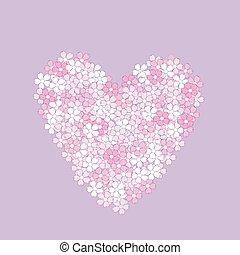 rose, coeur, fleurs, fait