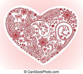 rose, coeur, fond