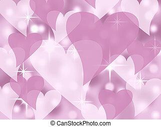 rose, coeur, fond, valentin