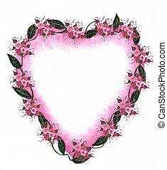 rose, coeur, frontière