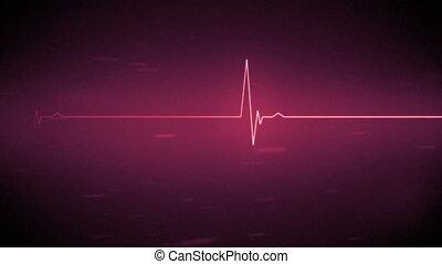 rose, coeur, ligne, en mouvement, moniteur