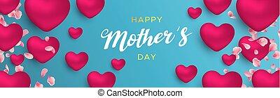 rose, coeur, mères, bannière, ballons, jour, heureux