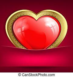 rose, coeur, or, poche, conception, frontière, rouges