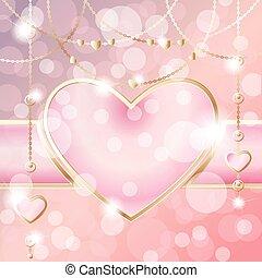 rose, coeur, pêche, fond