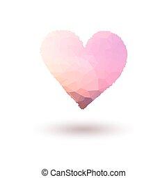 rose, coeur, peint, gradient, vecteur, fond