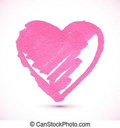 rose, coeur, peint, isolé, textured, marqueur