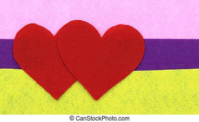 rose, coeur, pourpre, haut, formes, jaune, papier, fond, fin