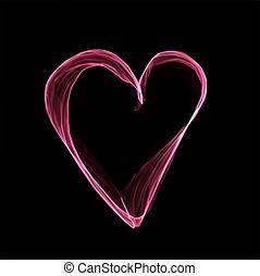 rose, coeur, résumé, arrière-plan., vecteur, noir