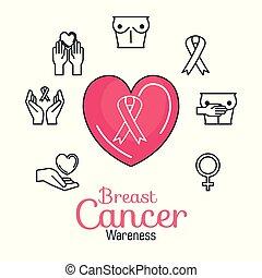 rose, coeur, ruban, cancer, icônes