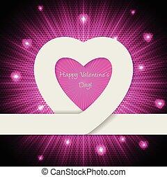rose, coeur, salutation, carte valentine, jour, ruban