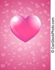 rose, coeur, -, valentin, hart, carte