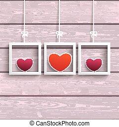 rose, coloré, 3, bois, cadres, cœurs