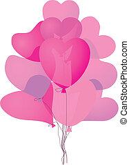 rose, coloré, forme coeur, ballons