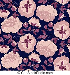 rose color peony flower on black background seamless pattern. sketch hand drawn floral image for surface design, fabric, wrapping paper